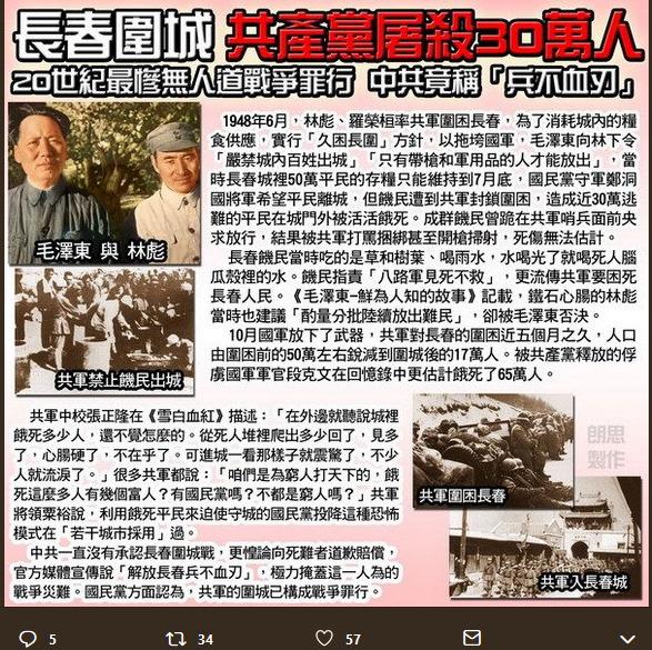 长春围城,共产党屠杀六十万百姓