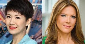 美国福克斯电视商业频道主播萃西.里根(右)与中国国际电视台英文主播刘欣