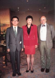 1997年3月摄于香港万豪酒店。左起:金钟、陈惠敏、梅兆赞