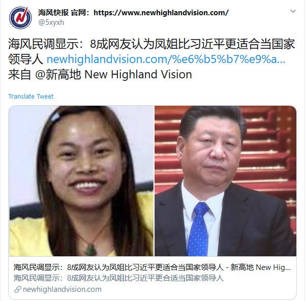 海风民调显示:8成网友认为凤姐比习近平更适合当国家领导人